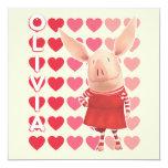 Olivia - fondo del corazón invitación 13,3 cm x 13,3cm