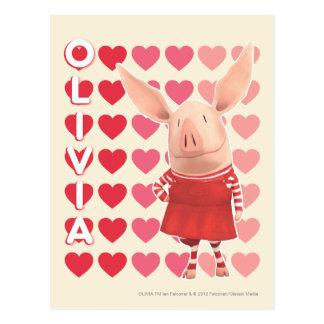 Olivia - fondo del corazón tarjeta postal