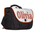 OLIVIA  Girl Name Text Laptop Commuter Bag