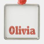 OLIVIA  Girl Name Text Square Metal Christmas Ornament