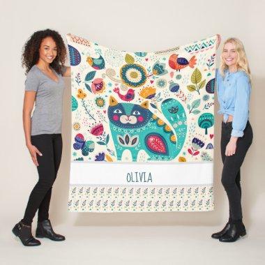 OLIVIA - Girls Name Gift - COZY Folk Art CAT Fleece Blanket