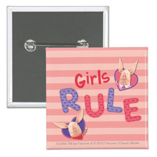 Olivia - Girls Rule 2 Inch Square Button