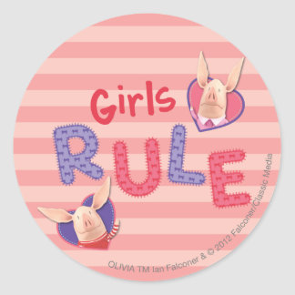 Olivia - Girls Rule Classic Round Sticker