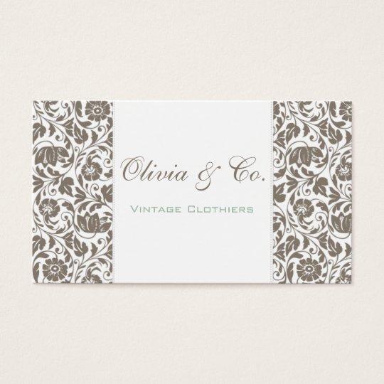 Olivia Gray Floral Damask Elegant Business Card