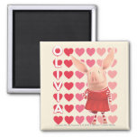 Olivia - Heart Background 2 Inch Square Magnet