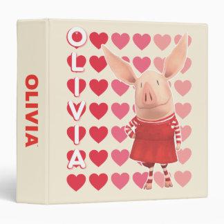 Olivia - Heart Background 3 Ring Binder
