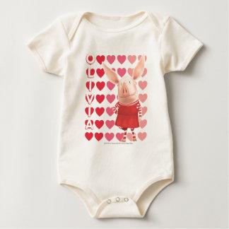 Olivia - Heart Background Baby Bodysuit