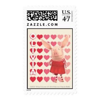 Olivia - Heart Background Postage