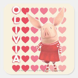 Olivia - Heart Background Square Sticker