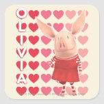 Olivia - Heart Background Square Stickers