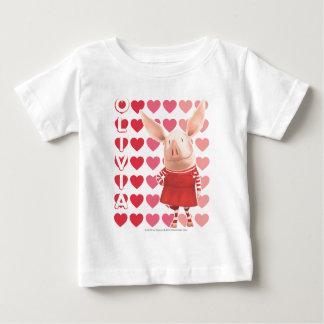 Olivia - Heart Background T Shirt