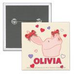 Olivia - Hearts 2 Inch Square Button