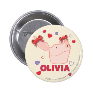 Olivia - Hearts Pinback Button