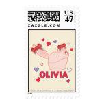 Olivia - Hearts Postage Stamp