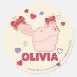 Olivia - Hearts Round Stickers