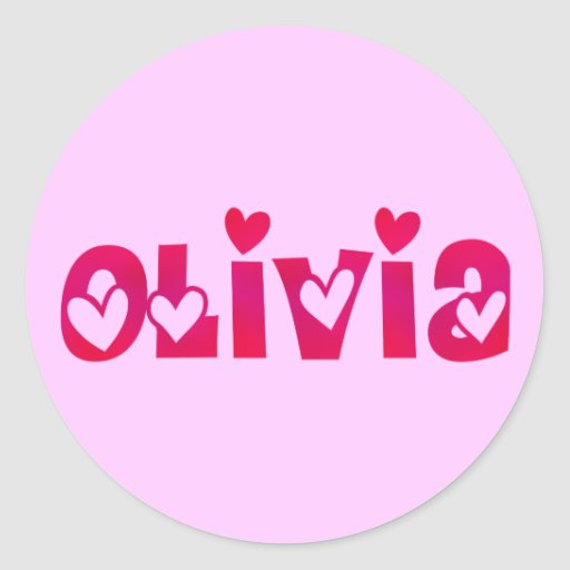 Olivia in Hearts Classic Round Sticker