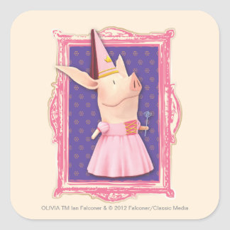 Olivia in Pink Frame Square Sticker