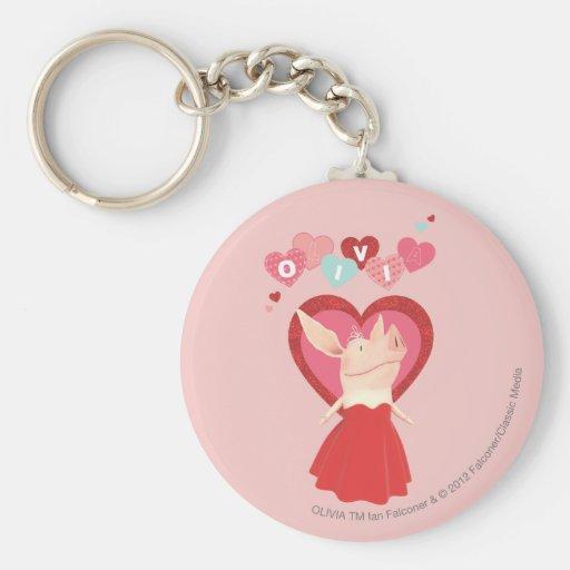 Olivia in Red Dress Basic Round Button Keychain