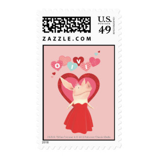 Olivia in Red Dress Postage Stamp