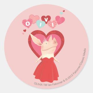 Olivia in Red Dress Round Sticker