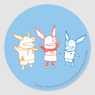 Olivia, Julian, and Ian Cheering Classic Round Sticker