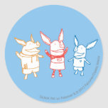 Olivia, Julian, and Ian Cheering Round Stickers