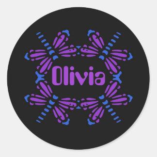 Olivia, libélulas en azul y púrpura en negro pegatina redonda