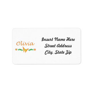 Olivia (mariposa anaranjada) etiqueta de dirección