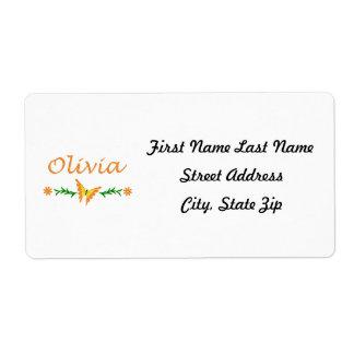 Olivia (mariposa anaranjada) etiquetas de envío
