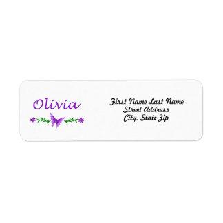 Olivia (mariposa púrpura) etiqueta de remitente