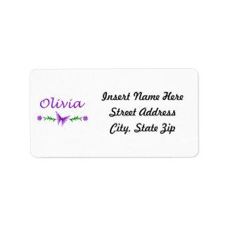 Olivia (mariposa púrpura) etiquetas de dirección
