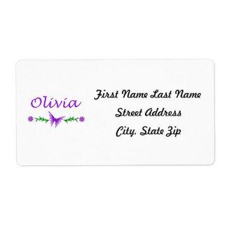 Olivia (mariposa púrpura) etiquetas de envío