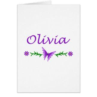 Olivia (mariposa púrpura) tarjeta de felicitación