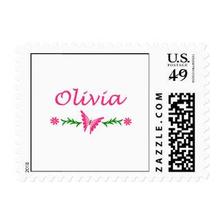 Olivia (mariposa rosada) estampillas