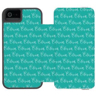 Olivia - Modern Calligraphy Name Design iPhone SE/5/5s Wallet Case