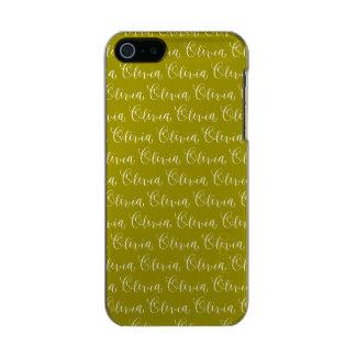 Olivia - Modern Calligraphy Name Design Metallic iPhone SE/5/5s Case