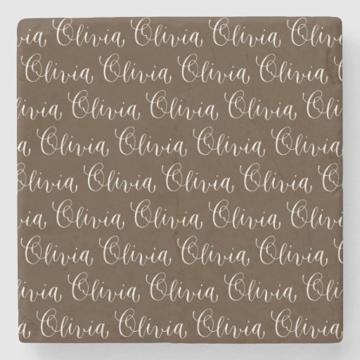 Olivia modern calligraphy name design stone coaster zazzle