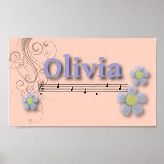 Olivia Musical Name Bedroom Nursery Room print
