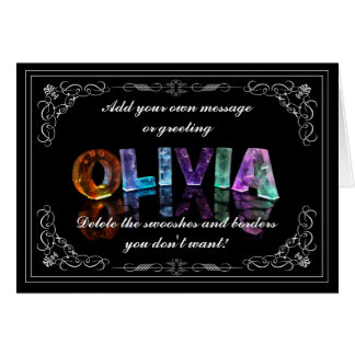 Olivia - nombre en la tarjeta de felicitación de