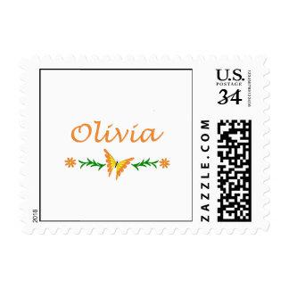 Olivia Orange Butterfly Postage Stamp