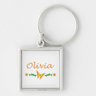 Olivia (Orange Butterfly) Silver-Colored Square Keychain