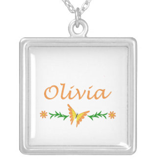 Olivia (Orange Butterfly) Square Pendant Necklace