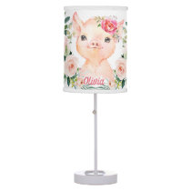 Olivia Pigsley Cute Pig with Blush Roses   Nursery Table Lamp