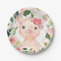 """Olivia Pigsley Pig 7"""" Dessert Plate - Baby Shower"""
