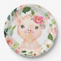 """Olivia Pigsley Pig 9"""" Dessert Plate - Baby Shower"""