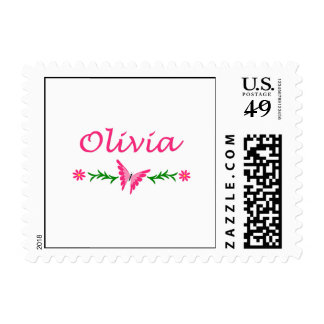 Olivia Pink Butterfly Postage Stamp