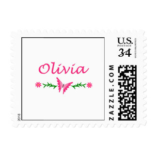 Olivia Pink Butterfly Stamp