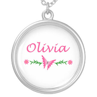 Olivia (Pink Butterfly) Round Pendant Necklace