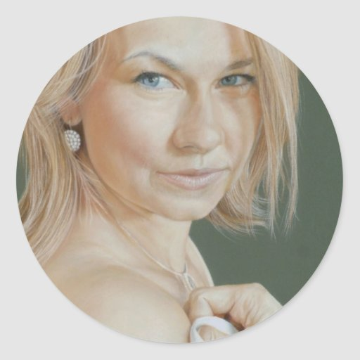 Olivia Portrait by David Wells Classic Round Sticker