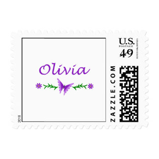 Olivia Purple Butterfly Stamp